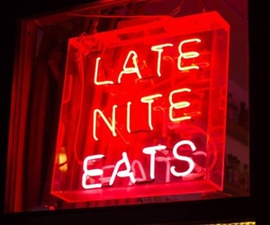 food, neon signs, and red image