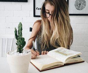 girl, hair, and study image