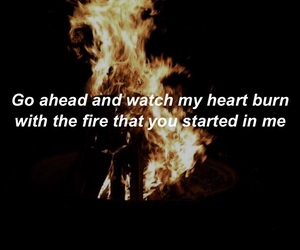 burn, fire, and heart image