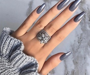 nails, fashion, and grey image