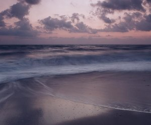 sea, purple, and sunset image