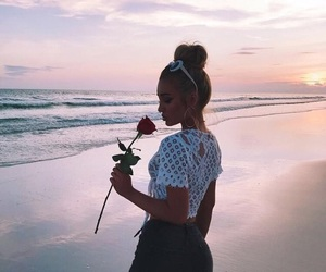 girl, beach, and rose image