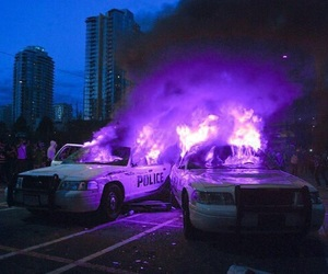 fire, police, and purple image