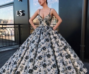 Couture, dresses, and floral image