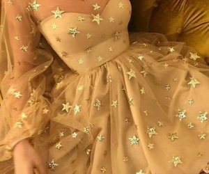 dress, gold, and stars image