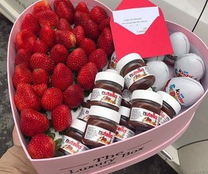 kinder, nutella, and strawberry image