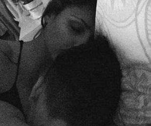 black and white, kisses, and couple image