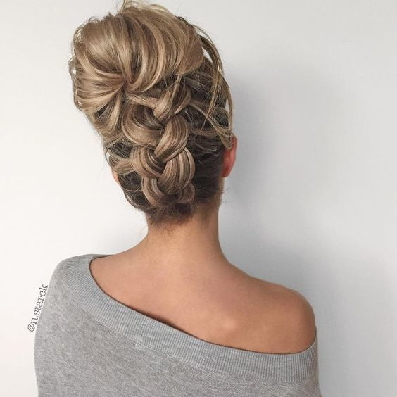 Upside Down Chunky Braid Into A Messy Bun On We Heart It