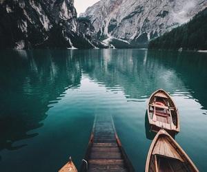 mountains, travel, and lake image