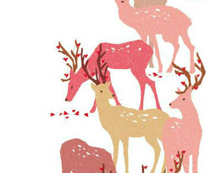 deer, pink, and wallpaper image