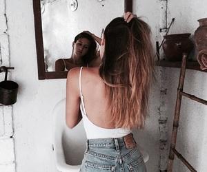 girl, hair, and denim image