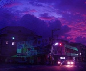 aesthetic, purple, and city image