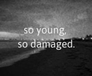young, damaged, and sad image