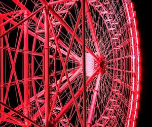 ferris wheel, glow, and red image