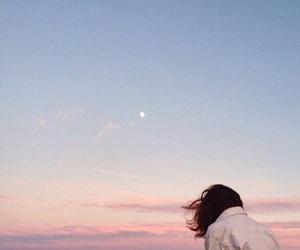 sky, girl, and moon image