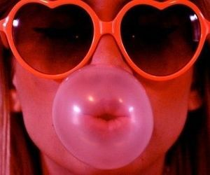 bubblegum, red, and glasses image