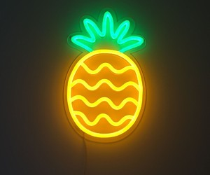 pineapple, neon, and light image
