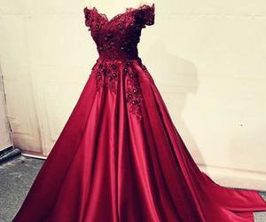 burgundy long prom dress image