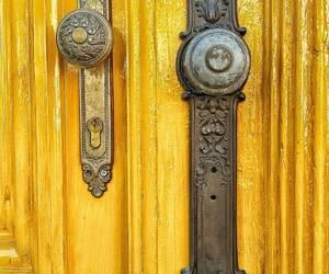 door, doorknob, and yellow image