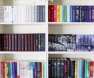 book, bookshelf, and rainbow image