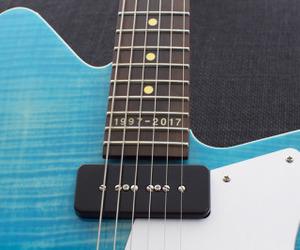 aqua, blue, and guitars image