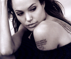 Angelina Jolie, tattoo, and black and white image