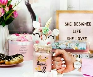 milkshake, pink, and rainbow image