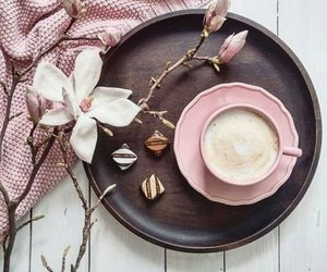 coffee, flowers, and pink image