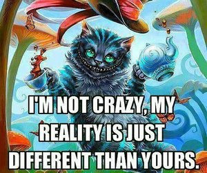 crazy, reality, and alice in wonderland image