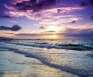 beach, nature, and sunset image