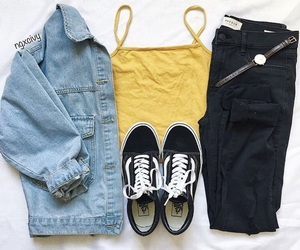 outfit, yellow, and basic image