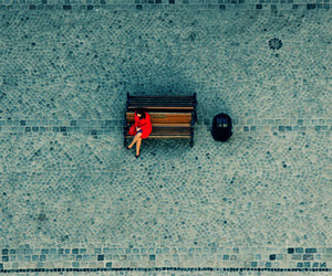 red, alone, and woman image