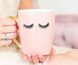 pink, mug, and eyelashes image