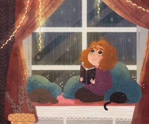 girl, ventanas, and lluvia image
