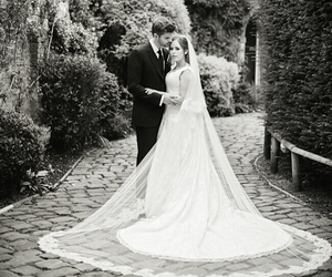 beautiful, married, and black and white image