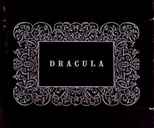 Dracula, black and white, and book image