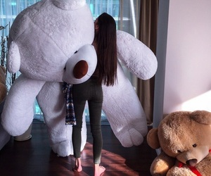 girl, teddy bear, and white image