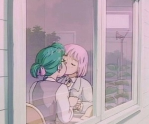 anime, lesbian, and kiss image