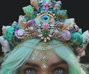 crown, girl, and mermaid image