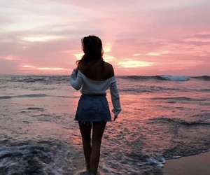 beach, evening, and pretty image