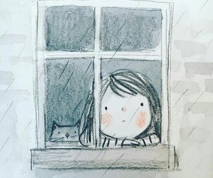 rain, window, and drawing image