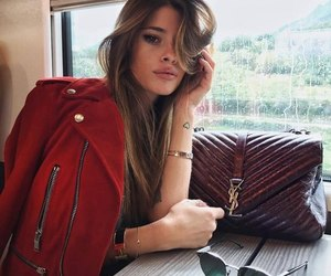 girl, beauty, and leather jacket image