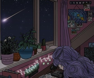 night, stars, and art image