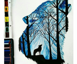 art, draw, and wolf image