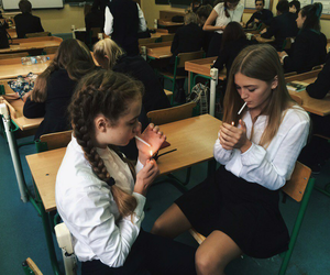 girl, school, and cigarettes image