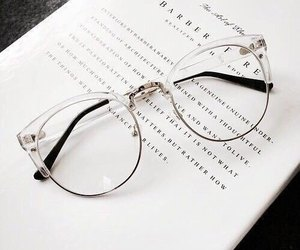 glasses, book, and white image