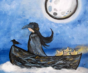 art, original art, and moon art image
