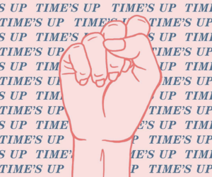 feminism, sexual harassment, and times up image