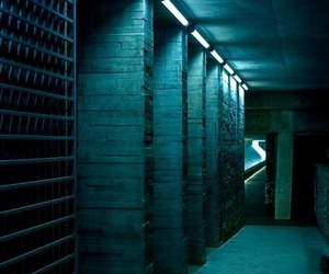 blue, corridor, and teal image