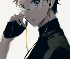 blue eyes, earphones, and glasses image